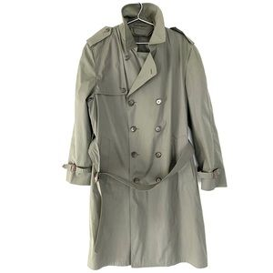 🔥VTG London FOG Trench Coat Long Jacket Olive 42